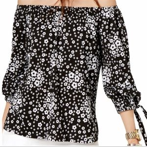 Micheal Kors Off The Should Floral Print Blouse